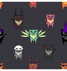 Cute Hallowen cats on the grat background vector