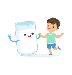 cute little boy and funny milk glass with smiling vector image