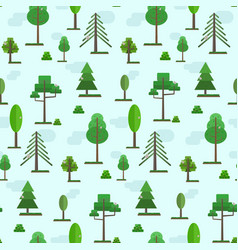 cute spring or summer flat forest trees pattern vector image