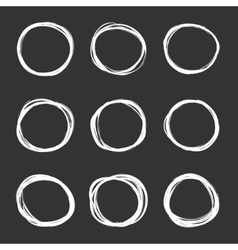 dark set of hand drawn scribble circles vector image