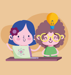 Education online student girl and boy with laptop vector