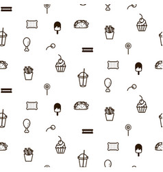 Fast food sweet icon style seamless pattern vector