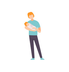 Father holding newborn baby on his hands parent vector