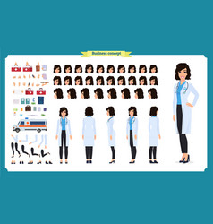 Female doctor character creation set healthcare vector