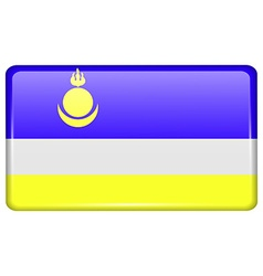 Flags Buryatia in the form of a magnet on vector
