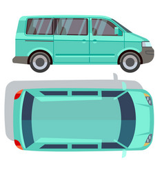 Flat-style cars in different views blue vector