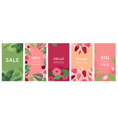floral stories flowers spring plants and foliage vector image