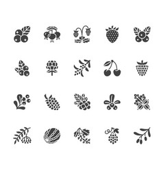 Forest berries colored flat glyph icons vector