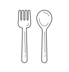 fork and spoon line icon vector image
