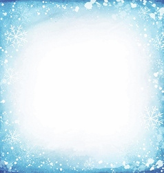 Frame of snowflakes on a watercolor background vector