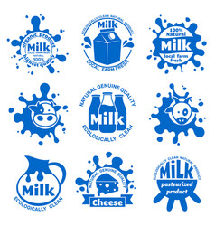 Fresh farm cow milk labels healthy dairy blue vector