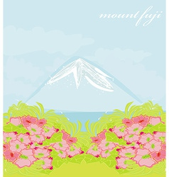 Fuji and morning sunrays landscape vector