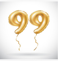 Golden number 99 ninety nine metallic balloon vector