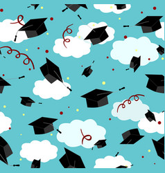 Graduates hats in the air graduation caps vector