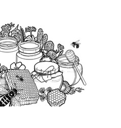Graphic honey bottles surrounded honeycombs vector