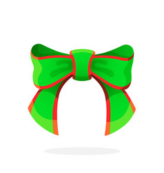 green christmas bow-knot ribbon vector image
