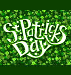 Green greeting card for st patricks day vector
