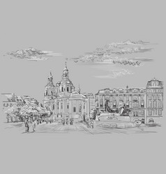 Grey hand drawing prague vector