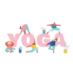 group overweight women practicing yoga concept vector image