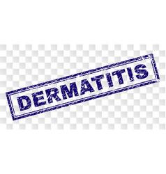 Grunge dermatitis rectangle stamp vector