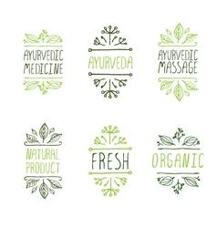 Hand-sketched typographic elements Ayurveda vector