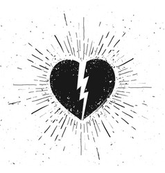 Handdrawn broken heart icon on grunge background vector
