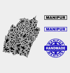 Handmade collage manipur state map and vector