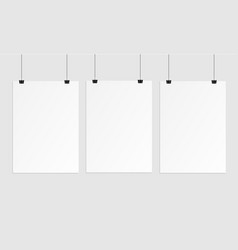 hanging paper poster on wall poster vector image