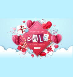 happy valentines day background with love hearts vector image