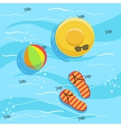 Hat Flip-Flops And Ball With Blue Sea Water On vector