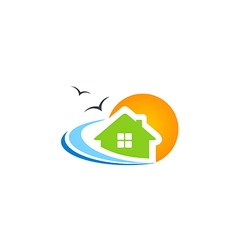 House beach ocean water seagul logo vector