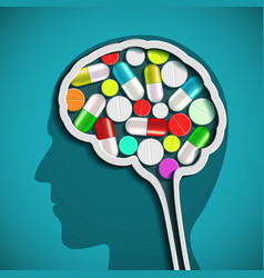 human head with the brain and pills vector image