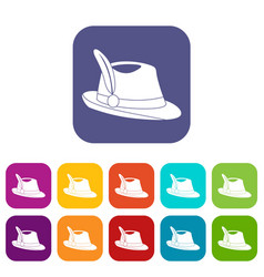 Irish hat icons set vector