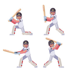 Isolated batting sport game cricket batsman vector