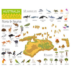 Isometric 3d australia and oceania flora and vector