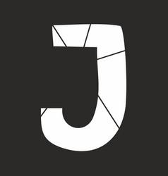 J white alphabet letter isolated on black vector
