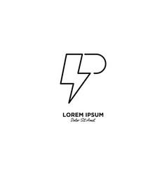 Letter p flash logo design vector