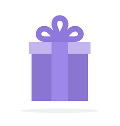 lilac gift box flat material design isolated vector image