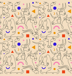 Line bulls or zodiac sign ox pattern vector