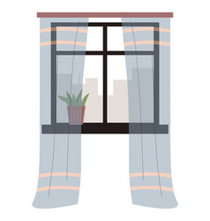 Living room window with vector