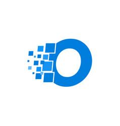 logo letter o blue blocks cubes vector image