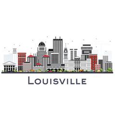 Louisville kentucky usa city skyline with gray vector