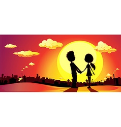 lovers silhouette in sunset - vector image