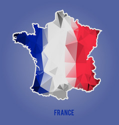 Low polygonal national flag stylized france map vector