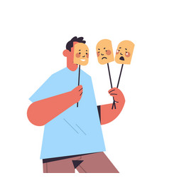 man holding masks with different emotions fake vector image