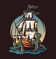 marine nautical sea ship and kraken wanderlust vector image