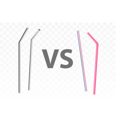 metal and plastic drinking straws realistic vector image