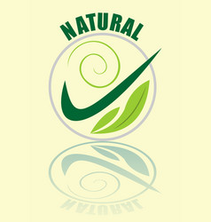 natural logotype in green composed in circle vector image