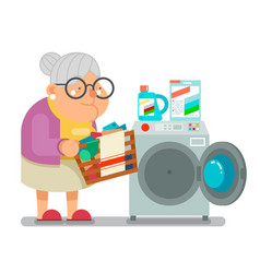 old woman lady wash dirty clothes laundry washing vector image