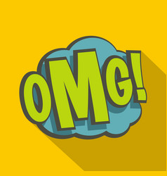 omg comic book explosion icon flat style vector image